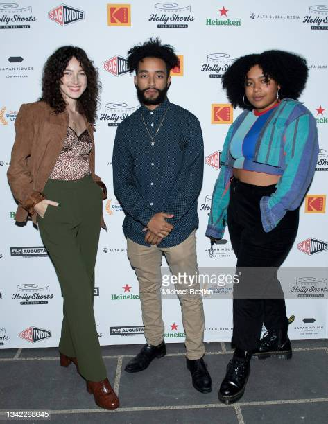 Sarah Cohen, Jeffrey Figuereo and Perla Figuereo arrive at 17th Annual Oscar-Qualifying HollyShorts Film Festival Opening Night at Japan House Los...