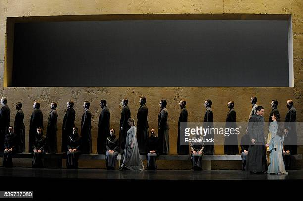Sarah Connolly as Dido , Lucas Meachem as Aeneas and Lucy Crowe as Belinda with artists of both the Royal Opera and the Royal Ballet in the Royal...