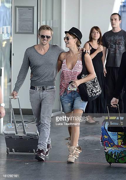 Sarah Connor And Florian Fischer Sighting At Vienna Airport Stock