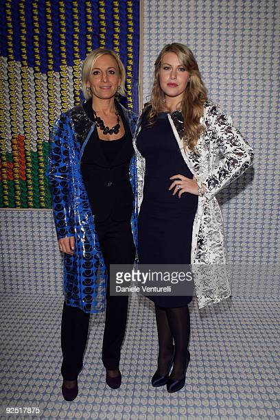 Sarah Cosulich and Barbara Berlusconi attend the Thomas Bayrle preview at the Cardi Black Box Gallery on October 29 2009 in Milan Italy