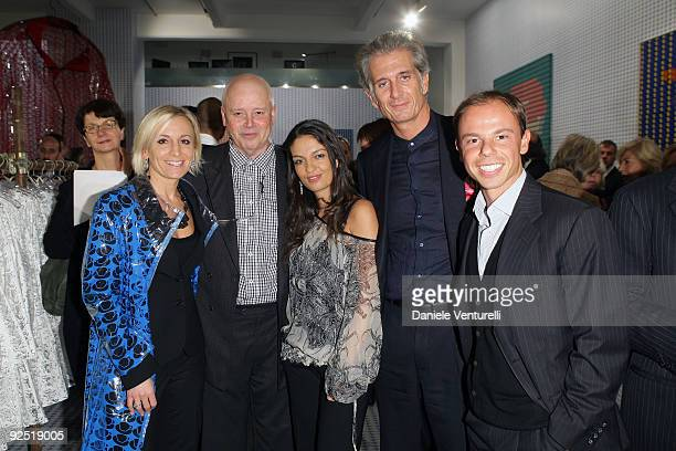 Sarah Cosulich Thomas Bayrle Alessandra Moschillo Massimiliano Finazzer Flory and Nicolo Cardi attend the Thomas Bayrle preview at the Cardi Black...