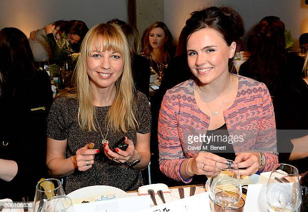 Sarah Cox and Emer Kenny attend Smashbox Influencer Dinner hosted by Lauren Laverne on January 21, 2016 in London, England.