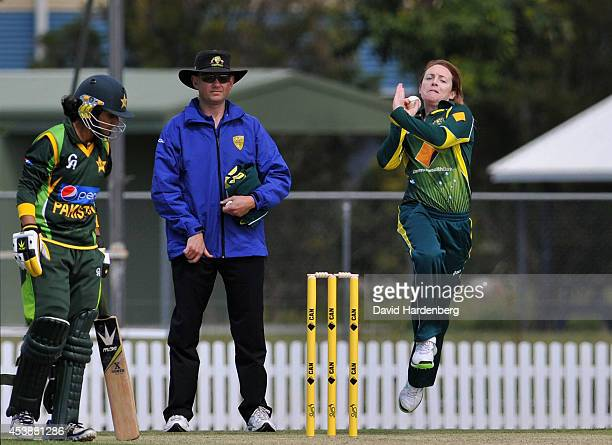 Sarah Coyte of Australia bowls the ball during the women's international series One Day match between the Australian Southern Stars and Pakistan at...