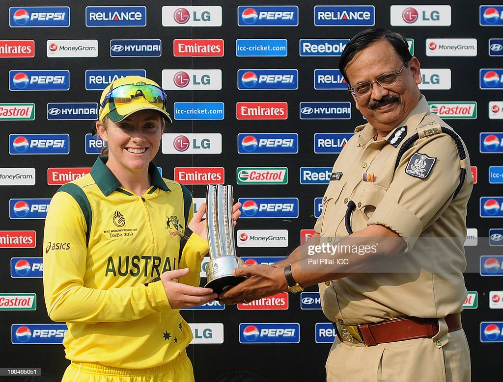 Sarah Coyte of Australia receives the woman of the match award during the second match of ICC Womens World Cup between Australia and Pakistan, played at the Barabati stadium on February 1, 2013 in Cuttack, India.
