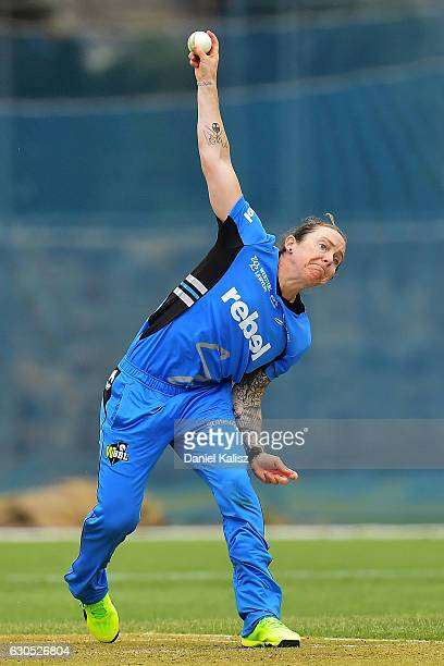 Sarah Coyte of the Adelaide Strikers bowls during the WBBL match between the Adelaide Strikers and the Hobart Hurricanes at Gliderol Stadium on...