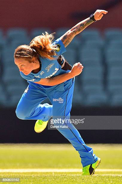 Sarah Coyte of the Adelaide Strikers bowls during the WBBL match between the Strikers and Sixers at the Adelaide Oval on January 3 2017 in Adelaide...