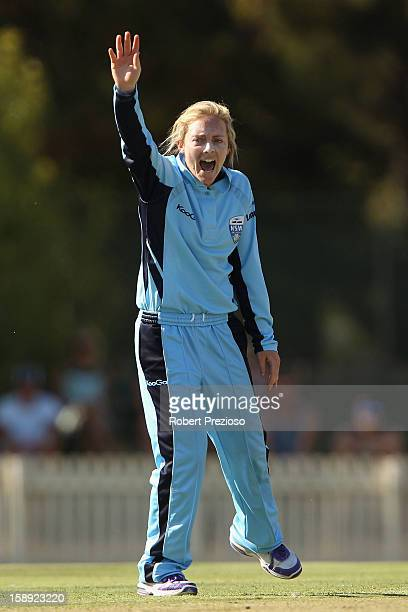 Sarah Coyte of the Breakers appeals successfully for the wicket of Kelly Applebee of the Spirit during the Women's Twenty20 match between the...