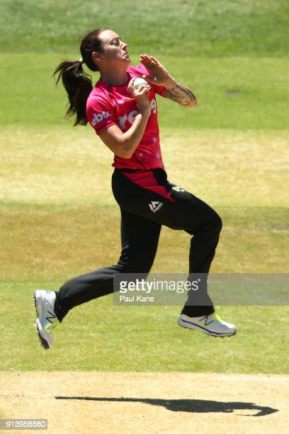 Sarah Coyte of the Sixers bowls during the Women's Big Bash League final match between the Sydney Sixers and the Perth Scorchers at Adelaide Oval on...