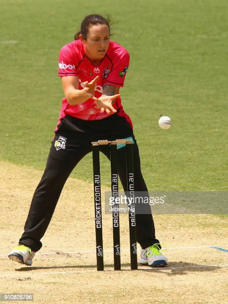 Sarah Coyte of the Sixers gathers the ball during the Women's Big Bash League match between the Adelaide Strikers and the Sydney Sixers at Hurstville...