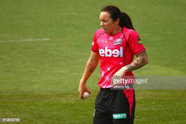 Sarah Coyte of the Sixers looks on during the Women's Big Bash League match between the Adelaide Strikers and the Sydney Sixers at Hurstville Oval on...