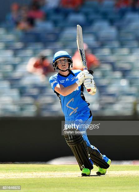 Sarah Coyte of the Strikers bats during the Women's Big Bash League match between the Perth Scorchers and the Adelaide Strikers at WACA on January 14...