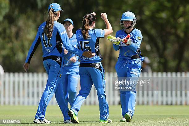 Sarah Coyte of the Strikers celebrates after taking a catch off Katie Mack of the Stars during the Women's Big Bash League match between the Adelaide...