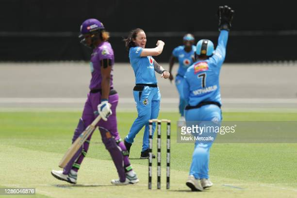 Sarah Coyte of the Strikers celebrates taking the wicket of Hayley Matthews of the Hurricanes during the Women's Big Bash League WBBL match between...