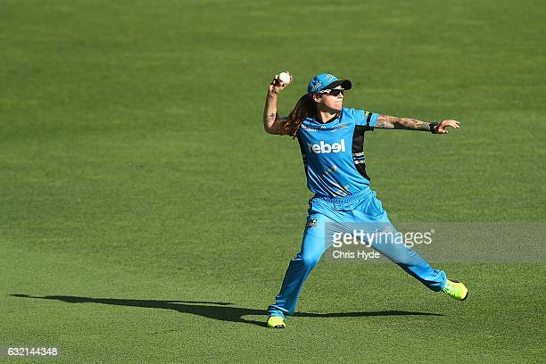 Sarah Coyte of the Strikers fields during the Women's Big Bash League match between the Brisbane Heat and the Adelaide Strikers at The Gabba on...