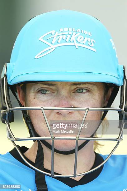 Sarah Coyte of the Strikers waits to bat during the Women's Big Bash League match between the Melbourne Renegades and the Adelaide Strikers at North...