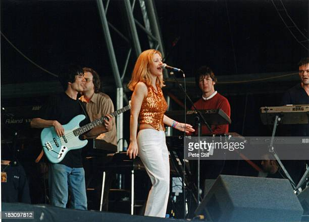Sarah Cracknell, Bob Stanley and Pete Wiggs of St Etienne perform on stage at the Glastonbury Festival, on June 28th, 1998 in Glastonbury, England.