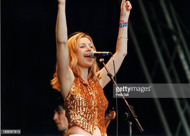 Sarah Cracknell of St Etienne performs on stage at the Glastonbury Festival, on June 28th, 1998 in Glastonbury, England.
