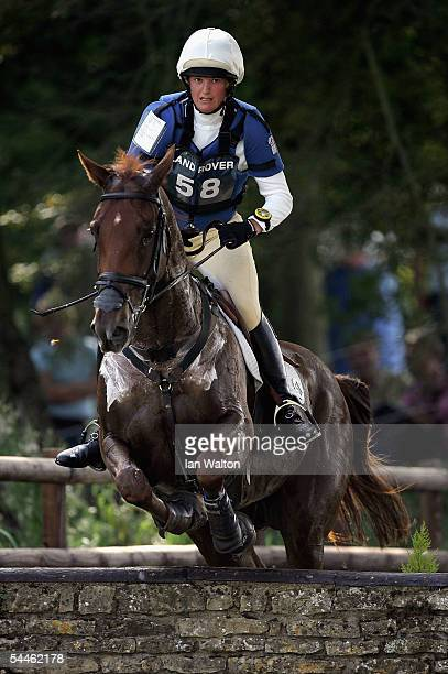 Sarah Cutteridge and Riva Ruel in action in the Cross Country during the 2005 Burghley Horse Trials on September 4 2005 in Stamford Lincolnshire...
