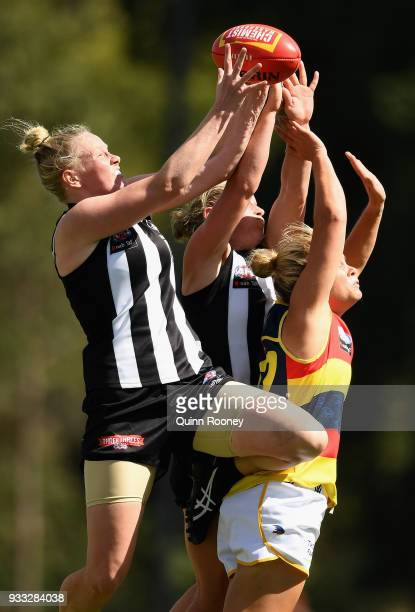 Sarah DÕArcy of the Magpies attempts to mark during the round seven AFLW match between the Collingwood Magpies and the Adelaide Crows at Olympic Park...