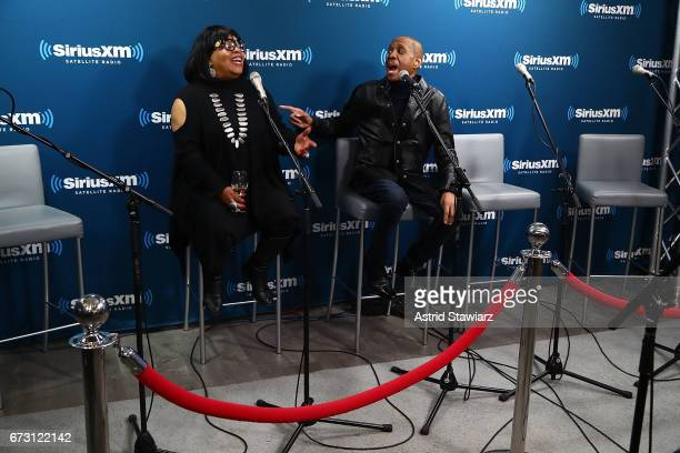 Sarah Dash and Freddie Jackson talk with Marc Benecke and Myra Scheer during a SiriusXM Town Hall taping on Studio 54 Radio celebrating the 40th...