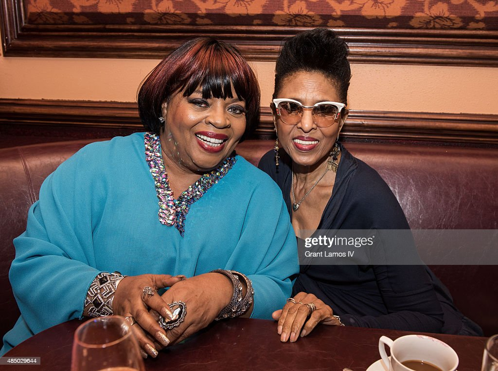 Sarah Dash (L) and Nona Hendryx attend the Sarah Dash birthday celebration at 54 Below on August 23, 2015 in New York City.