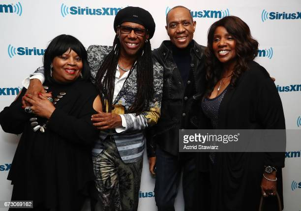 Sarah Dash Nile Rodgers Freddie Jackson and Gloria Gaynor pose for photos during a SiriusXM Town Hall taping on Studio 54 Radio celebrating the 40th...