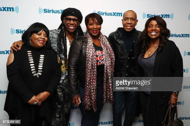 Sarah Dash Nile Rodgers SiriusXM host Bevy Smith Freddie Jackson and Gloria Gaynor pose for photos during a SiriusXM Town Hall taping on Studio 54...