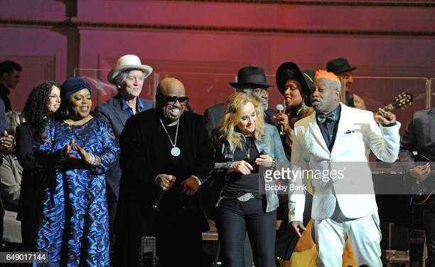 Sarah Dash Rodney Crowell CeeLo Green Melissa Etheridge and Corey Glover perform at The Music Of Aretha Franklin show at Carnegie Hall on March 6...