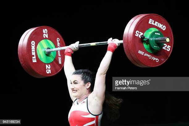 Sarah Davies of England competes in the Women's 69kg final during Weightlifting on day four of the Gold Coast 2018 Commonwealth Games at Carrara...
