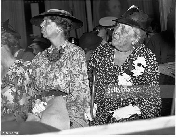 Sarah Delano Roosevelt mother of President Franklin Roosevelt sits by daughterinlaw Eleanor Roosevelt at Franklin Field on June 27 listening to...