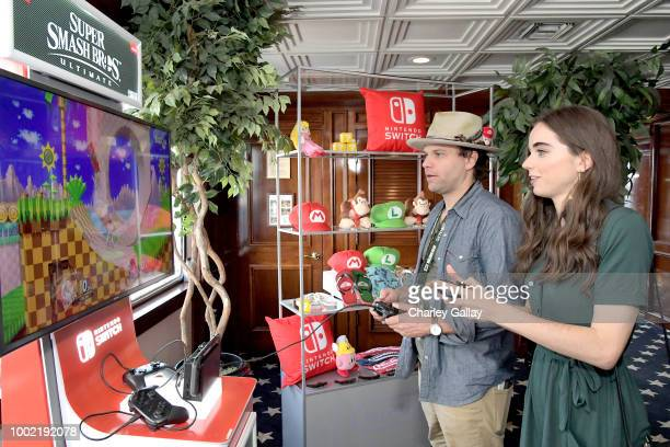 Sarah Desjardins tests her skills on Super Smash Bros Ultimate for Nintendo Switch at the Variety Studio at ComicCon 2018 on July 19 2018 in San...