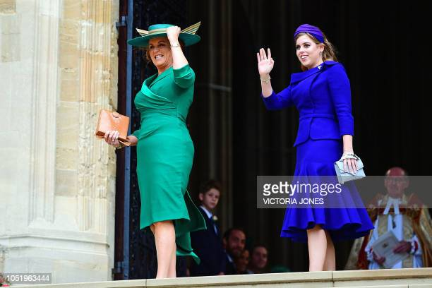 Sarah Duchess of York and Britain's Princess Beatrice of York arrive to attend the wedding of Britain's Princess Eugenie of York to Jack Brooksbank...