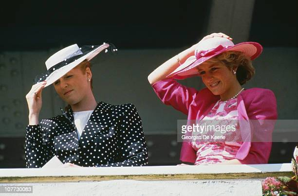 Sarah Duchess of York and Diana Princess of Wales at the Epsom Derby 3rd June 1987