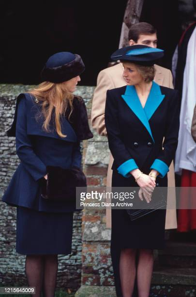 Sarah, Duchess of York and Diana, Princess of Wales attend the Christmas Day service at St Mary Magdalene Church on the Sandringham estate in...