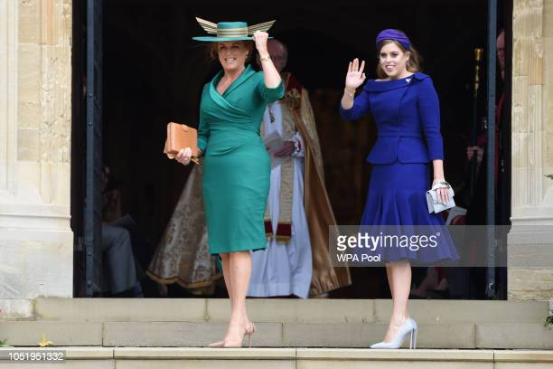 Sarah, Duchess of York and Princess Beatrice of York arrive ahead of the wedding of Princess Eugenie of York and Mr. Jack Brooksbank at St. George's...