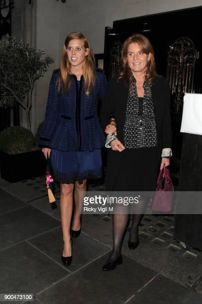 Sarah Duchess of York and Princess Beatrice of York leave Scott's restaurant on September 21 2012 in London England