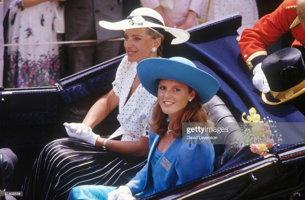 Sarah, Duchess of York and Princess Michael of Kent arriving at Ascot Races : News Photo