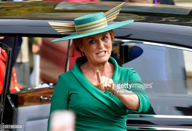 Sarah, Duchess of York arrives ahead of the wedding of Princess Eugenie of York and Mr. Jack Brooksbank at St. George's Chapel on October 12, 2018 in...