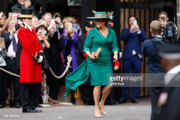 Sarah Duchess of York arrives ahead of the wedding of Princess Eugenie of York and Mr Jack Brooksbank at St George's Chapel on October 12 2018 in...