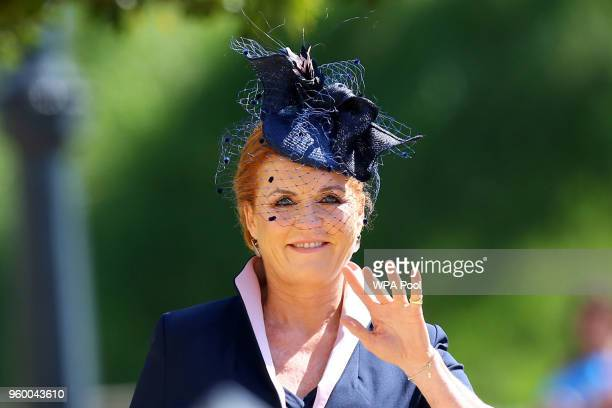 Sarah, Duchess of York arrives at St George's Chapel at Windsor Castle before the wedding of Prince Harry to Meghan Markle on May 19, 2018 in...