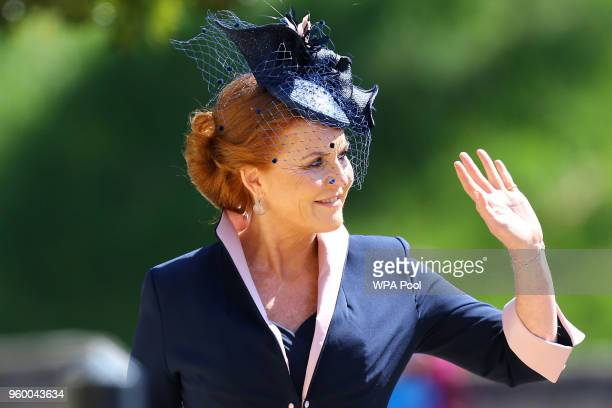 Sarah Duchess of York arrives at St George's Chapel at Windsor Castle before the wedding of Prince Harry to Meghan Markle on May 19 2018 in Windsor...