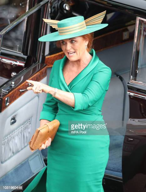 Sarah, Duchess of York arrives at St George's Chapel in Windsor Castle after the wedding of Princess Eugenie and Jack Castle on October 12, 2018 in...