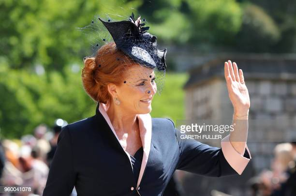 Sarah, Duchess of York arrives for the wedding ceremony of Britain's Prince Harry, Duke of Sussex and US actress Meghan Markle at St George's Chapel,...