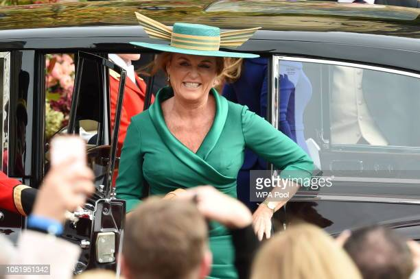 Sarah Duchess of York arrives for the wedding of Princess Eugenie to Jack Brooksbank at St George's Chapel in Windsor Castle on October 12 2018 in...