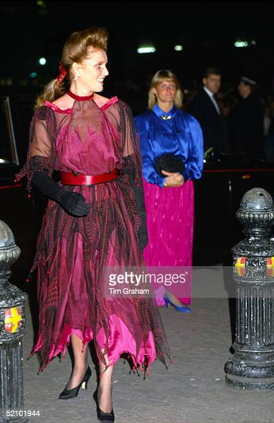 Sarah Duchess Of York Arriving For The Charity Film Premiere Of beverley Hills Cop II At The Empire Cinema In Leicester Square The Duchess Is Wearing...