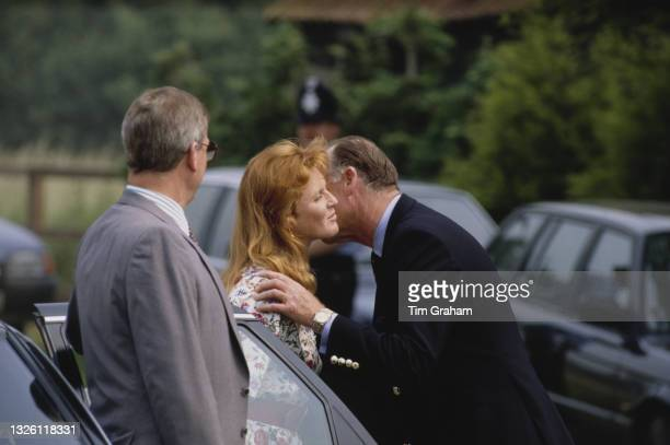 Sarah, Duchess of York at a polo club managed by her father, Major Ronald Ferguson , in Berkshire, UK, 14th June 1989. Her father is also pictured.