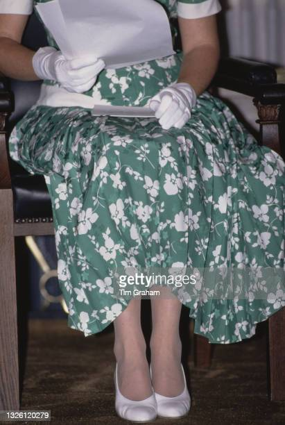 Sarah, Duchess of York at the City Hall during a solo official visit to Berlin, Germany, 25th May 1989. She is wearing a green silk damask dress by...