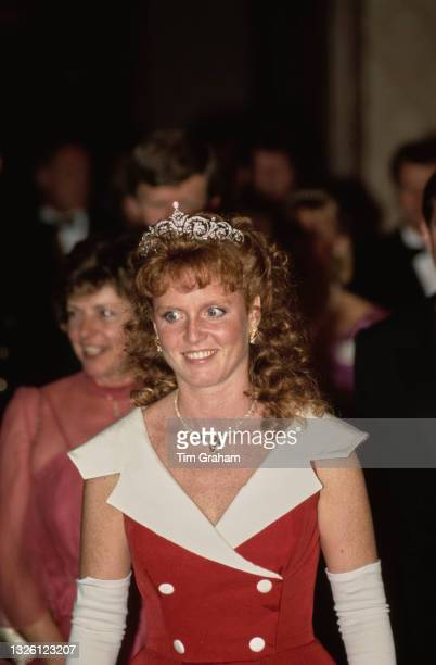 Sarah, Duchess of York attends a banquet held by the Canadian government at the Royal York Hotel in Toronto, Canada, 16th July 1987.