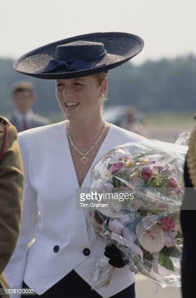 Sarah, Duchess of York attends a parade for the birthday of Queen Elizabeth II in Berlin, Germany, 26th May 1989.