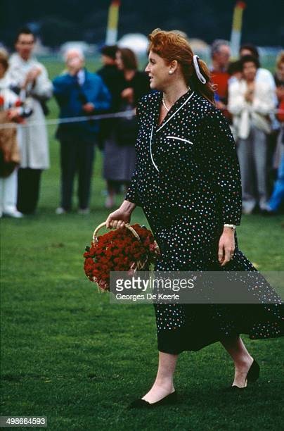 Sarah Duchess of York attends a polo match at Smith's Lawn Windsor UK 10th July 1988 She is heavily pregnant with Princess Beatrice